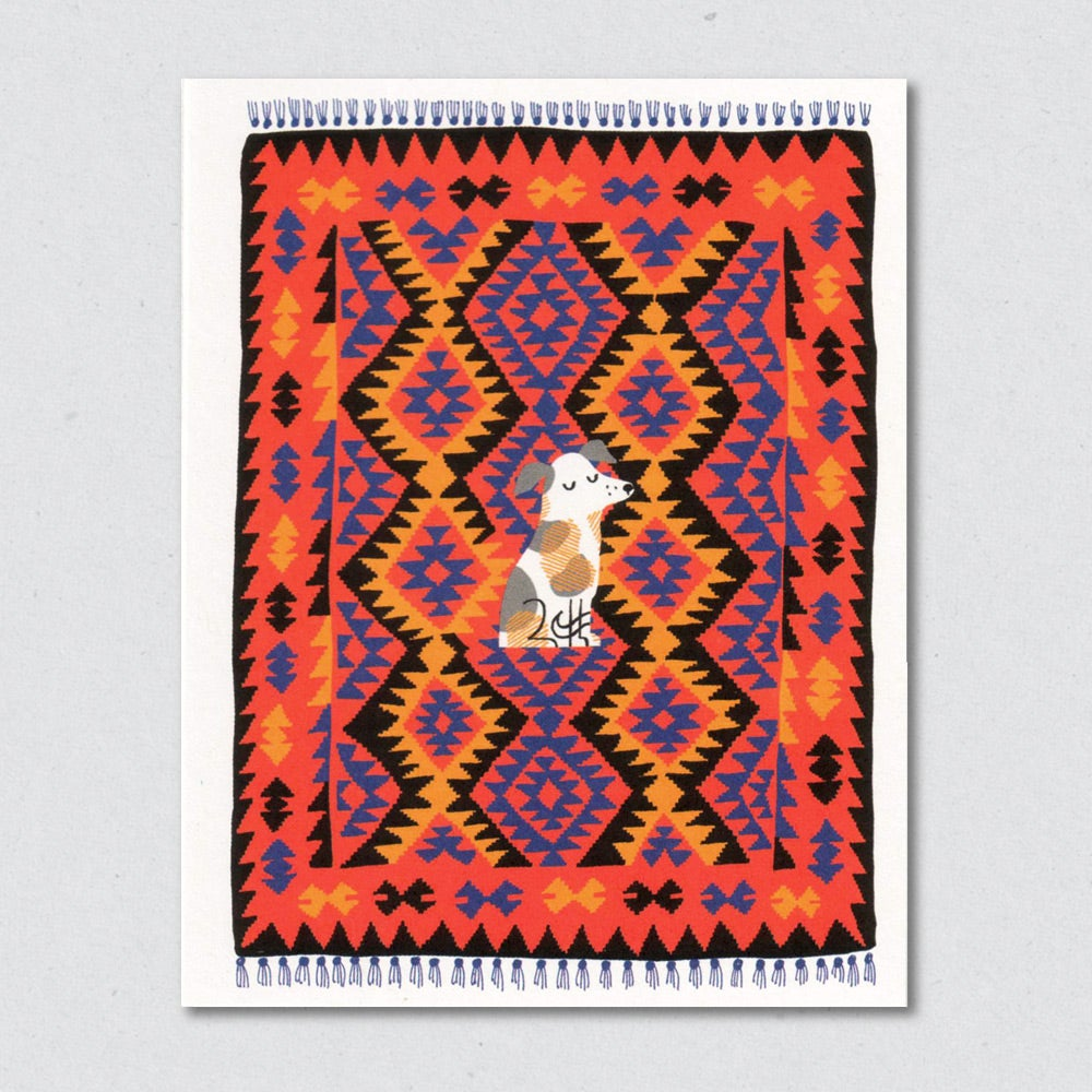 Greeting Card: Kilim Creatures, Nutmeg Dog