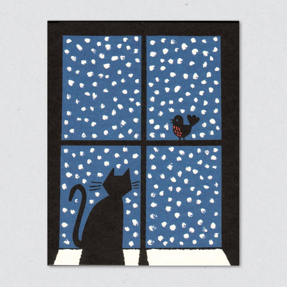 Greeting Card: Cat in Snowy Window