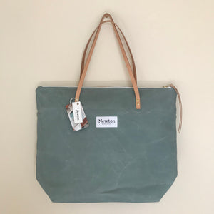 Waxed Canvas Zip Tote - Sage