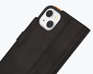 Vintage Black Leather Wallet - Apple iPhone 12
