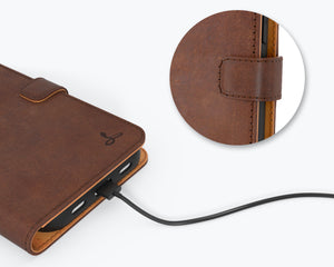 Vintage Brown Leather Wallet - Apple iPhone 12