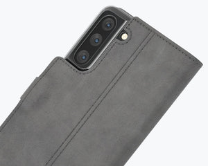 Vintage Grey Leather Wallet - Apple iPhone 12 Mini