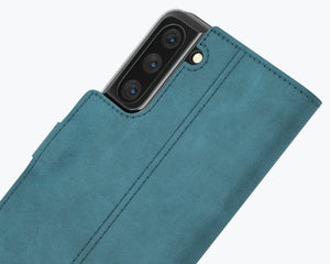 Vintage Teal Leather Wallet - Apple iPhone 12 Mini