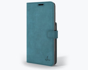 Vintage Teal Leather Wallet - Apple iPhone 12