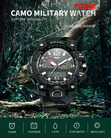 SMAEL Brand Fashion Men Sports Watches Men Analog Quartz Clock Military Watch Male Watch Men's 1545 relogios masculino