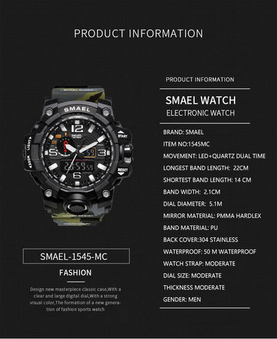 Image of SMAEL Brand Fashion Men Sports Watches Men Analog Quartz Clock Military Watch Male Watch Men's 1545 relogios masculino