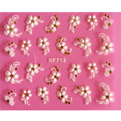 Image of Lovely 3D flower design Water Transfer Nails Art Sticker