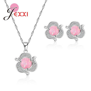 Lovely Pure Flower Shape Female Jewelry Sets 925 Sterling