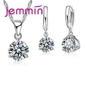 Women Bridal Weeding Shiny Crystal Cubic Zirconia 925 Sterling Silver Set
