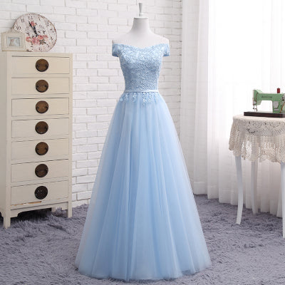 JFN#Lace up Off Shoulder Long middle short blue Bridesmaid Dresses