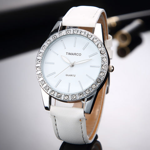 Fashion White Leather Quartz Rhinestone