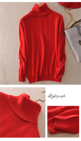 Women's turtleneck cashmere sweater plus size