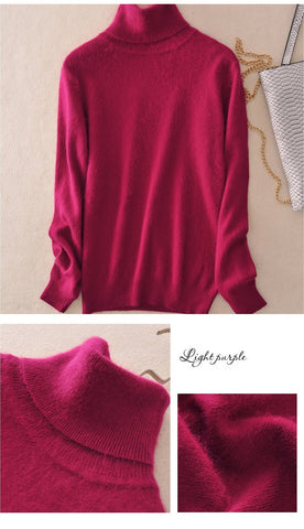 Image of Women's turtleneck cashmere sweater plus size