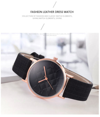 Fashion Women Leather Band Dress Quartz Wrist Watch