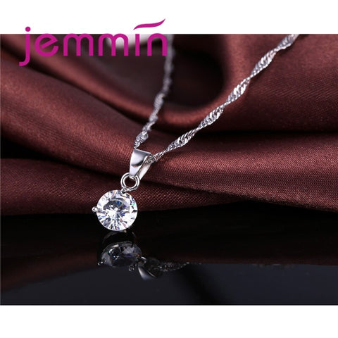 Image of Women Bridal Weeding Shiny Crystal Cubic Zirconia 925 Sterling Silver Set