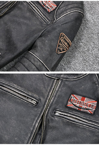 Motor Brand style Vintage men's quality genuine leather Jackets slim 100% natural cowhide jacket.leather coat