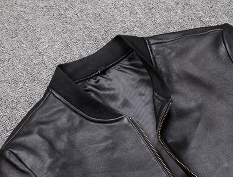 New Fashion Men Black Short Biker Jackets Slim Fit Genuine Leather