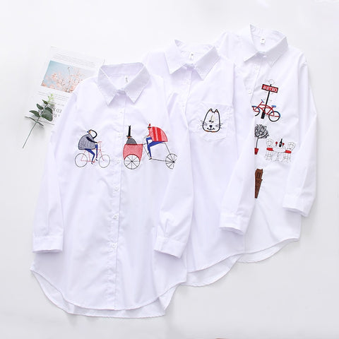 Image of NEW White Shirt Casual Wear Button Up Turn Down Collar Long Sleeve Cotton Blouse