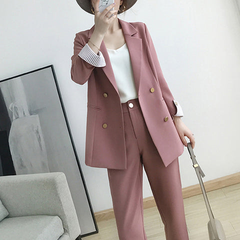 Women's suits  double-breasted pink large size