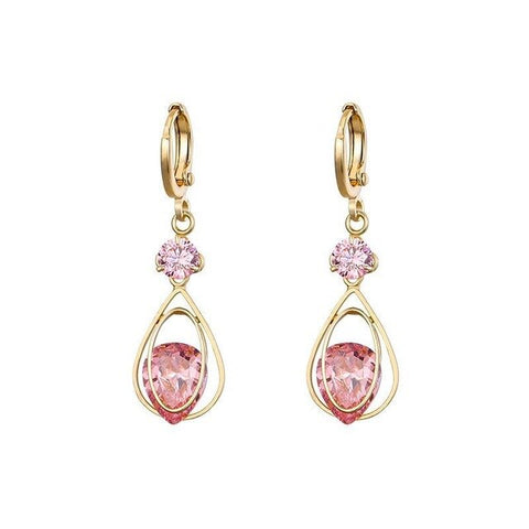 Image of MxGxFam  Red / Pink Drop Water CZ Earrings