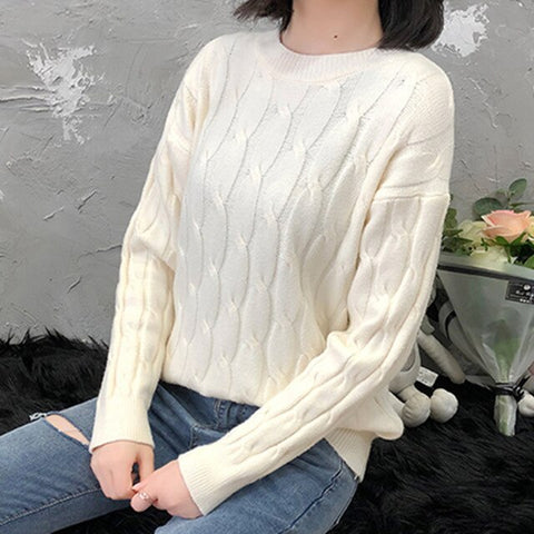 Image of Colorfaith New 2019 Autumn Winter Women's Sweater Pullovers Knitting Elegant Office Lady Slim Solid Minimalist Tops SW5882