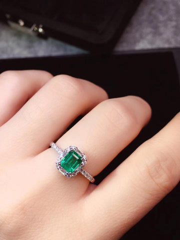 Emerald Ring Fine Jewelry Real Pure 18 K Gold 100% Natural Emerald Gemstones 0.73ct Female Wedding Rings for women Fine Ring