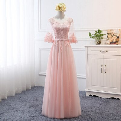 MNZ-17D#Embroidered Pale Mauve Bridesmaid's Dresses Long Lace up