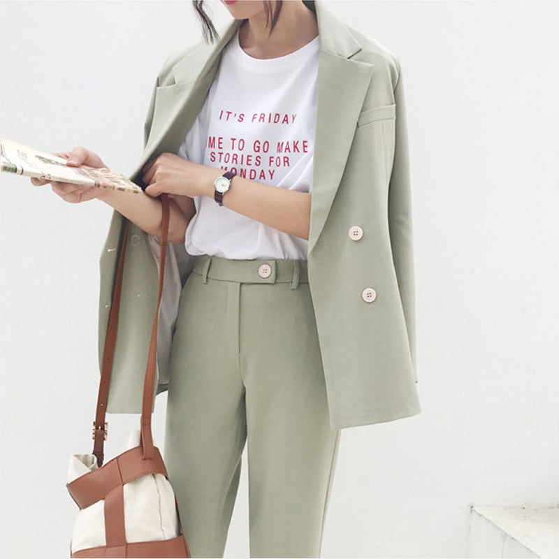 Vintage Autumn Winter Thicken Women Pant Suit Light Green Notched Blazer Jacket & Pant