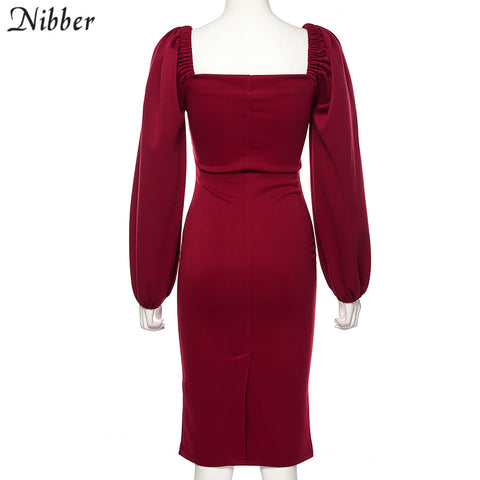 Nibber pure V Neck off shoulder bodycon dress women