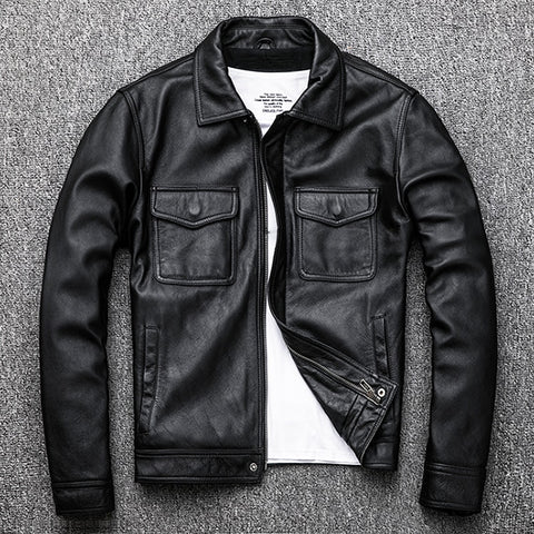 Genuine Leather jacket.classic black cowhide jacket.style pea coat