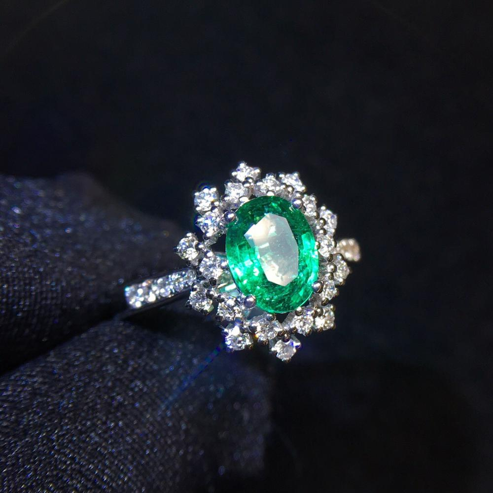 Emerald Ring 0.97ct Pure 18 K Gold Jewelry 100% Natural Emerald Gemstones Diamonds Female Wedding Rings
