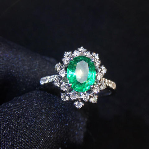 Image of Emerald Ring 0.97ct Pure 18 K Gold Jewelry 100% Natural Emerald Gemstones Diamonds Female Wedding Rings