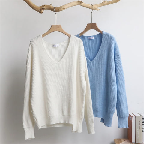 Colorfaith New Autumn Winter Women's Sweaters V-Neck Minimalist Tops