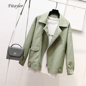 Fitaylor Autumn Faux Soft Leather Pu Jacket