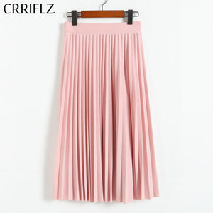 CRRIFLZ Spring Autumn Fashion Women's High Waist Pleated Solid Color Half Length  Skirt