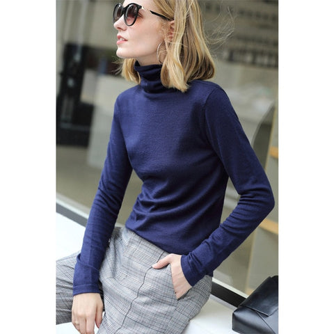 Amii Spring Women's turtleneck Solid  full sleeve wool slim fit sweater
