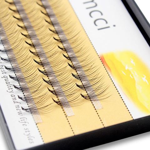 Kimcci 60knots/Case Natural False Eyelash Extension Makeup 10D Mink Individual Faux Eye Lashes