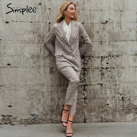 Simplee Office ladies plaid blazer suit Double breasted pockets