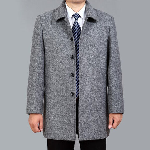 Image of High Quality Men Wool Coat Autumn Winter Overcoat