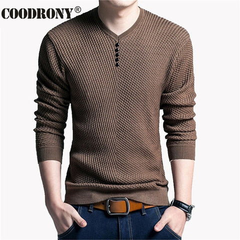 COODRONY Sweater Men Casual V-Neck Pullover
