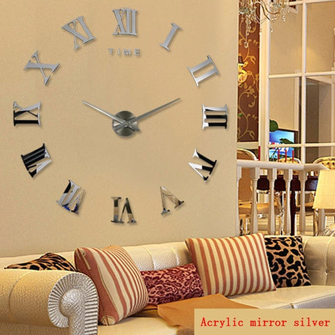Image of promotion new home decor large roman mirror fashion  modern Quartz clocks living room DIY