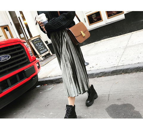 Image of Danjeaner  Women Long Metallic Silver Maxi Pleated Skirt