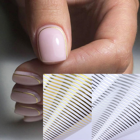Image of Gold 3D Nail Sticker Curve Stripe Lines Nails Stickers Gradient Adhesive Striping Tape Nail Foil Nail Art Stickers Decals Silver