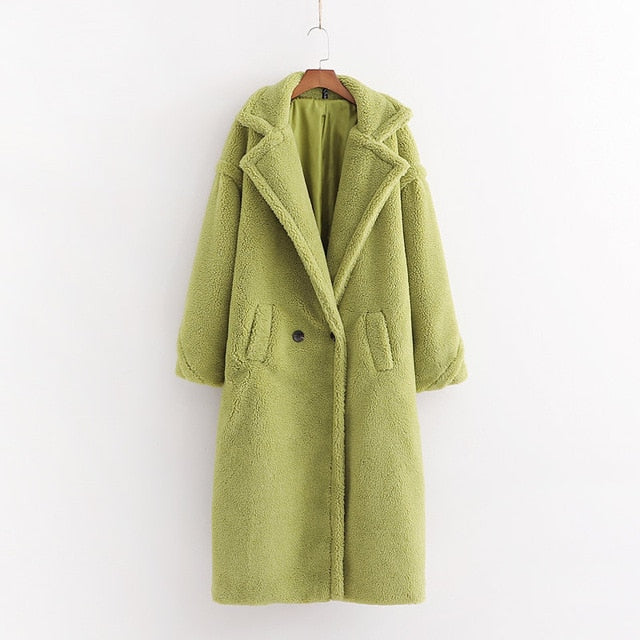 Autumn Winter Women Beige Teddy Coat Stylish Female Thick Warm Cashmere Jacket