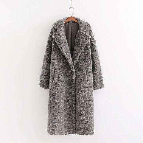 Image of Autumn Winter Women Beige Teddy Coat Stylish Female Thick Warm Cashmere Jacket