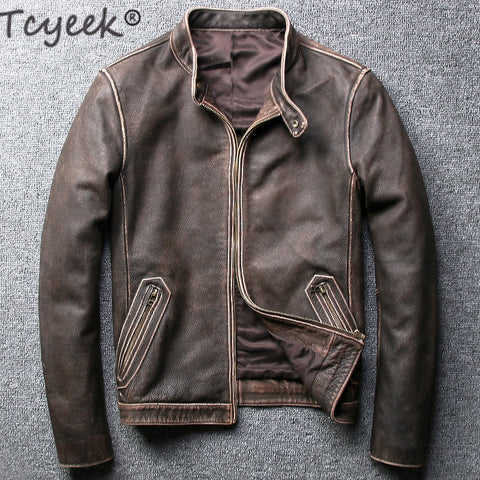 Tcyeek Winter Autumn Genuine Leather Jacket Men Streetweaar Real Sheepskin Leather Jackets