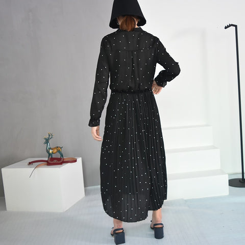 Image of [EAM] 2020 New Spring  Round Neck Long Sleeve Solid Black Chiffon Dot Loose Big Size Dress Women Fashion Tide JA23601M
