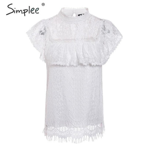 Image of Simplee O neck lace hollow out women blouse shirt Embroidery ruffle lining