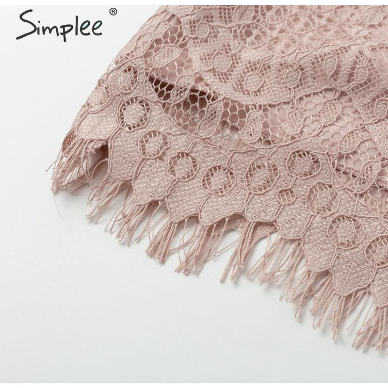 Simplee O neck lace hollow out women blouse shirt Embroidery ruffle lining