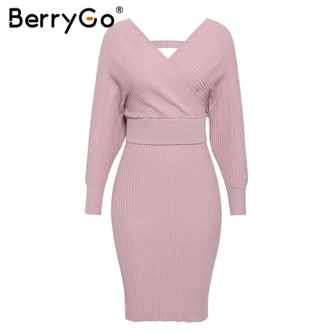 BerryGo Sexy v-neck knitted dress women Two-piece batwing sleeve female sweater dress